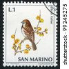 SAN MARINO - CIRCA 1972: A stamp printed by San Marino, shows Italian House Sparrow, circa 1972 - stock photo