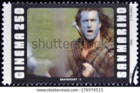 SAN MARINO - CIRCA 1995: A stamp printed in San Marino shows scene from the movie Braveheart, circa 1995 - stock photo