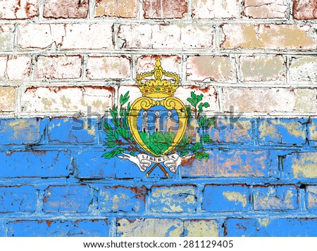 San Marino flag painted on old brick wall texture background - stock photo
