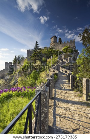 San Marino. Image of castle in San Marino during sunny spring day. - stock photo