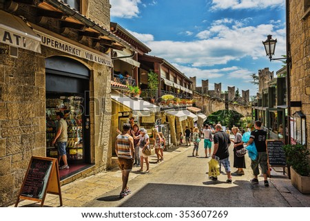 SAN - MARINO, ITALY - JUNE 22, 2014: Beautiful little streets of San - Marino waiting for tourists. - stock photo