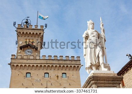 San Marino, Italy - October 07, 2012: Statue of Liberty by Galletti at Liberty Square - stock photo