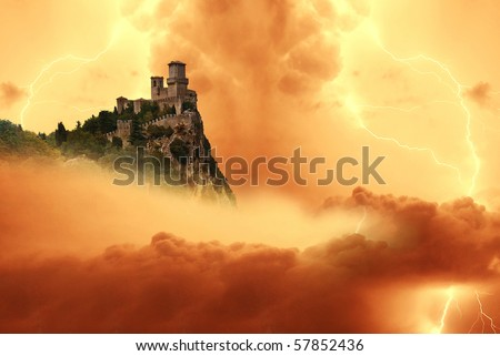 san marino' s tower into the storm - stock photo