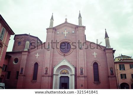 San Martino church front view in Bologna, Italy - stock photo