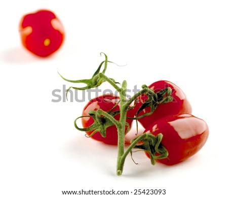 San Marzano tomatos isolated on white background - stock photo