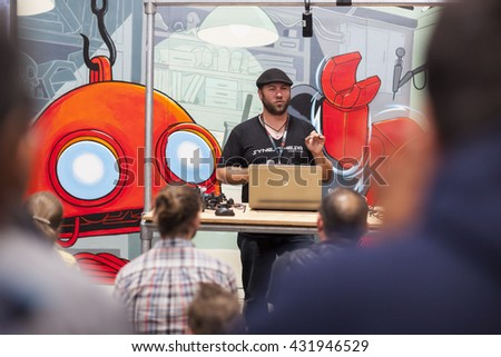 SAN MATEO, CA May 20 2016 - Colin Harrington speaks during the 11th annual Bay Area Maker Faire at the San Mateo County Event Center.