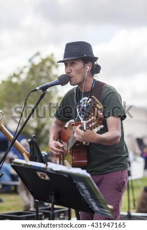 SAN MATEO, CA May 20 2016 - Musicians perform during the 11th annual Bay Area Maker Faire at the San Mateo County Event Center. - stock photo