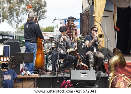 SAN MATEO, CA May 20 2016 - The band for Traveling Spectacular warming up at the 11th Annual Bay Area Maker Faire at the San Mateo County Event Center.