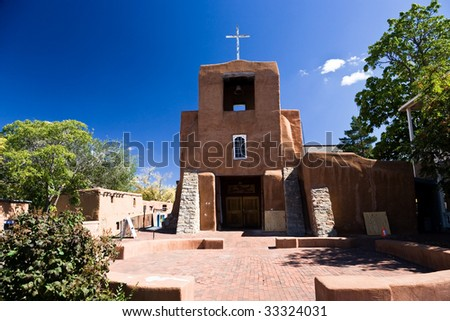 San Miguel Church is the oldest church in the USA, Santa Fe, New Mexico - stock photo