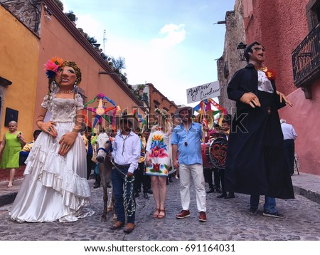 Wedding procession stock images royalty free images vectors san miguel de allendemexico august 4 2017 wedding procession on the junglespirit Images