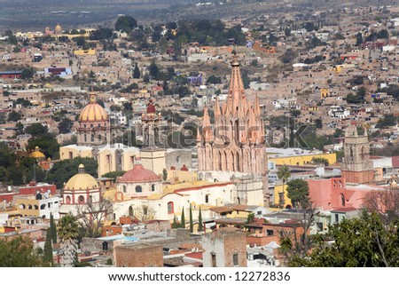 San Miguel de Allende, Mexico, Overlook Parroquia Archangel Church Close Up, Churches Houses - stock photo