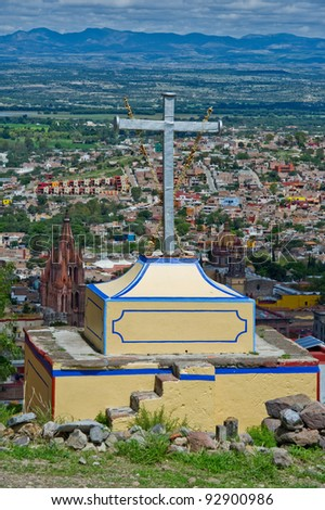 San Miguel De Allende View from above the city. - stock photo