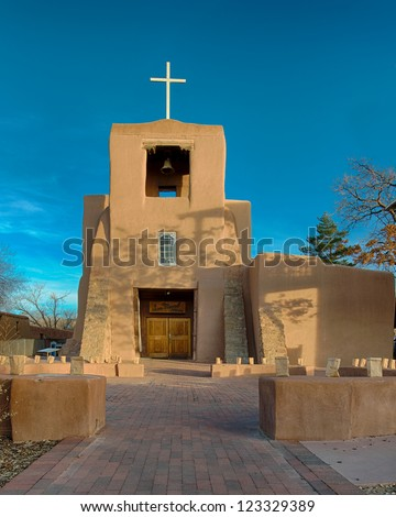 San Miguel Mission, also known as San Miguel Chapel, is a Spanish colonial mission church in Santa Fe, New Mexico - stock photo