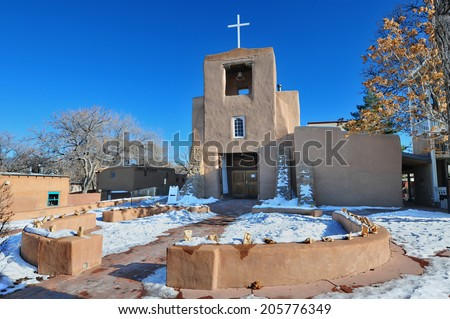 San Miguel Mission Chapel - The oldest adobe chapel in Santa Fe, New Mexico.