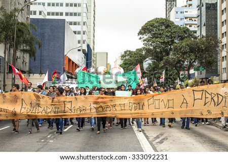 San Paulo, SP, Brazil, October 29, 2015. Teachers and students hold protest against school reorganization, on Paulista Avenue, central Sao Paulo
