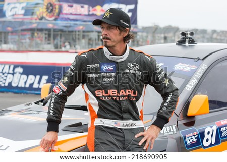 SAN PEDRO, CA - SEP 20: Bucky Laser rally driver at the Red Bull GRC Global Ralleycross in San Pedro, CA on September 20, 2014