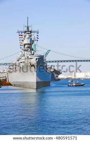 SAN PEDRO/CALIFORNIA - SEPT. 5, 2016: Naval battleship USS Iowa is docked in the Los Angeles Harbour celebrating Fleet Week in San Pedro, California USA