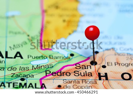 San Pedro Sula Pinned On Map Stock Photo 450466291 Shutterstock
