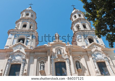 San Pedro Telmo church facade at Buenos Aires - stock photo