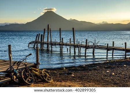 San Pedro volcano at sunset on Lake Atitlan, Guatemala - stock photo