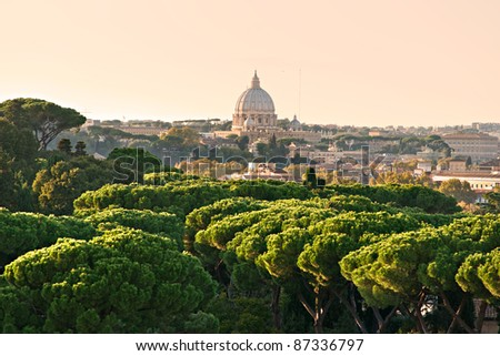 San Peter cupola at sunset, Rome, Italy. - stock photo
