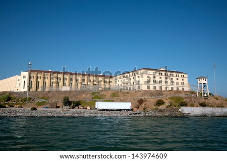 "San Quentin State Penitentiary in Northern California, only ""Death Row"" in the state, viewed from the waters of San Francisco Bay - stock photo"