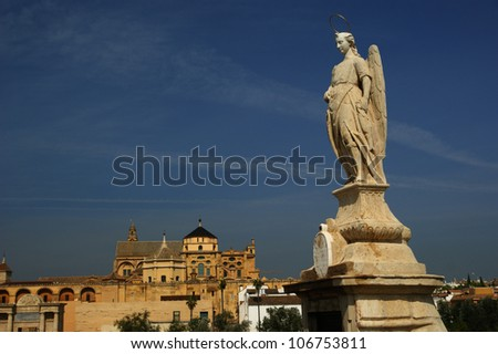 San Rafael Archangel statue in the Roman bridge, Cordoba