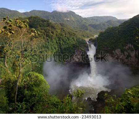 San Rafael Waterfall, Ecuador (hi-res 100Mp image) - stock photo