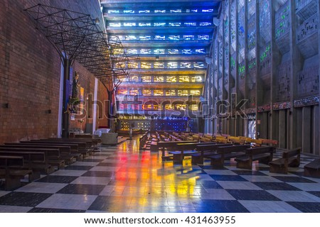 SAN SALVADOR , EL SALVADOR  - MAY 06 : The Iglesia El Rosario in San Salvador , El Salvador on May 06 2016.  The church designed by sculptor Ruben Martinez and completed in 1971