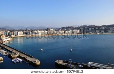 San Sebastian Bay and Harbor, La Concha - stock photo