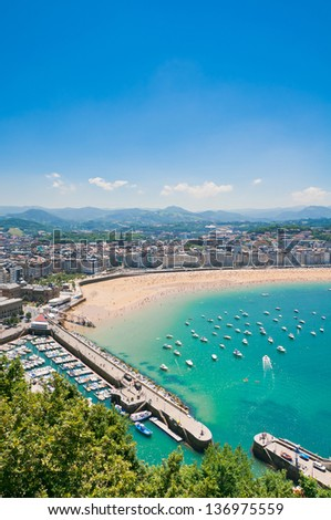 San Sebastian beach, Spain - stock photo