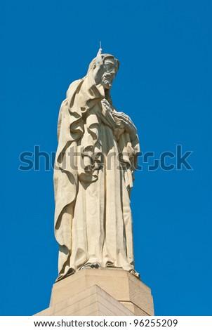 San Sebastian (Donostia), Basque Country, Spain. Monument of Christ closeup. - stock photo