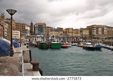 San Sebastian harbour, Basque country in Spain - stock photo