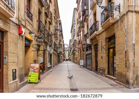 SAN SEBASTIAN, SPAIN - MARCH 18, 2014: Old town of San Sebastian, Basque Country, Spain. San Sebastian will be the European Capital of Culture in 2016