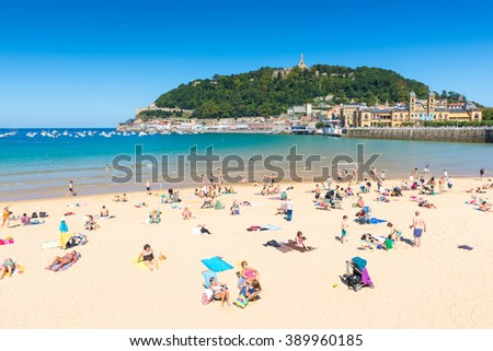 SAN SEBASTIAN, SPAIN - SEP 7: La Concha beach in a sunny day  on September 7, 2015 in San Sebastian, Spain. - stock photo