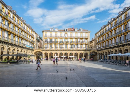 SAN SEBASTIAN, SPAIN  - SEPTEMBER 29. Historical buildings around the Constitution square in Donostia, The square, Spanish, Plaza de la Constitution is also a former bullfight ring, September 29, 2016