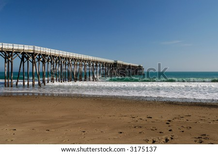 San Simeon Pier - William Randolph Hearst State Beach - stock photo
