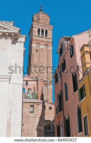 San Stefano church bell tower located at Venice, Italy