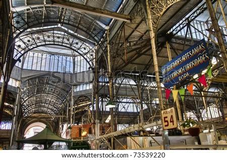San Telmo market interior metallic structure - stock photo