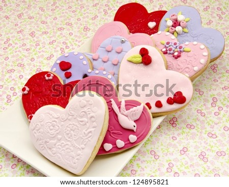San Valetin cookies decorated with heart shape