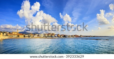 San Vincenzo beach and seafront panoramic view. Sea travel destination, Tuscany, Italy. - stock photo