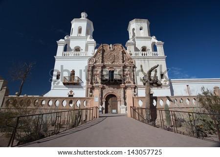 San Xavier del Bac is a Catholic church in Tuscon, Arizona - stock photo