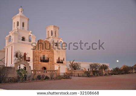 San Xavier del Bac Mission at Dusk - stock photo