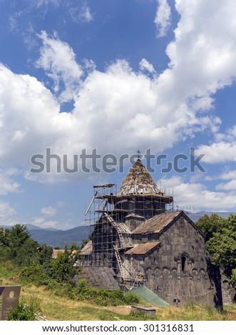 SANAHIN, ARMENIA - JULY 19, 2015: Sanahin Monastery founded in the 10th century in the Lori Province of Armenia. - stock photo