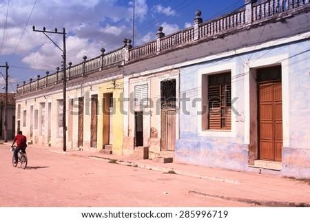 Sancti Spiritus, Cuba - colonial architecture. Filtered style colors. - stock photo