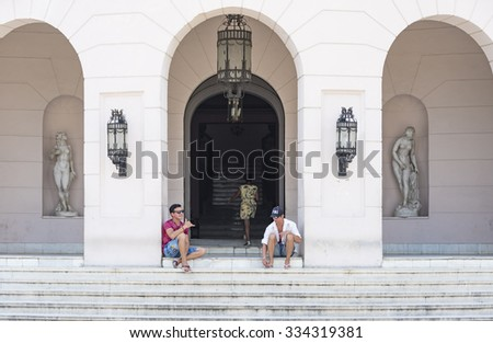 SANCTI SPIRITUS,CUBA-JULY 3,2015:Cuba tourism like the colonial architecture in vintage colonial cities. Facade of the Ruben Martinez Villena library.The library is one of the most beautiful buildings - stock photo