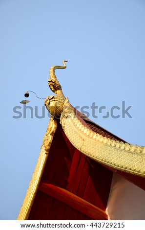 sanctuary in  Chiang Rai, northern of Thailand, blue sky, blue sky cloud - stock photo