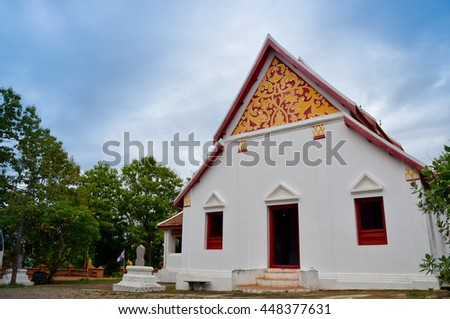 sanctuary in temple, Nan, northern of Thailand, cloudy  - stock photo