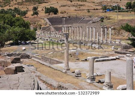 Sanctuary of Asclepius, Asclepeion ancient city in Pergamon, Turkey. - stock photo