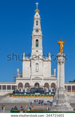 Sanctuary of Fatima, Portugal, March 07, 2015 - Basilica of Our Lady of the Rosary and the Sacred Heart of Jesus Monument. Fatima is one of the most important pilgrimage locations for the Catholics - stock photo